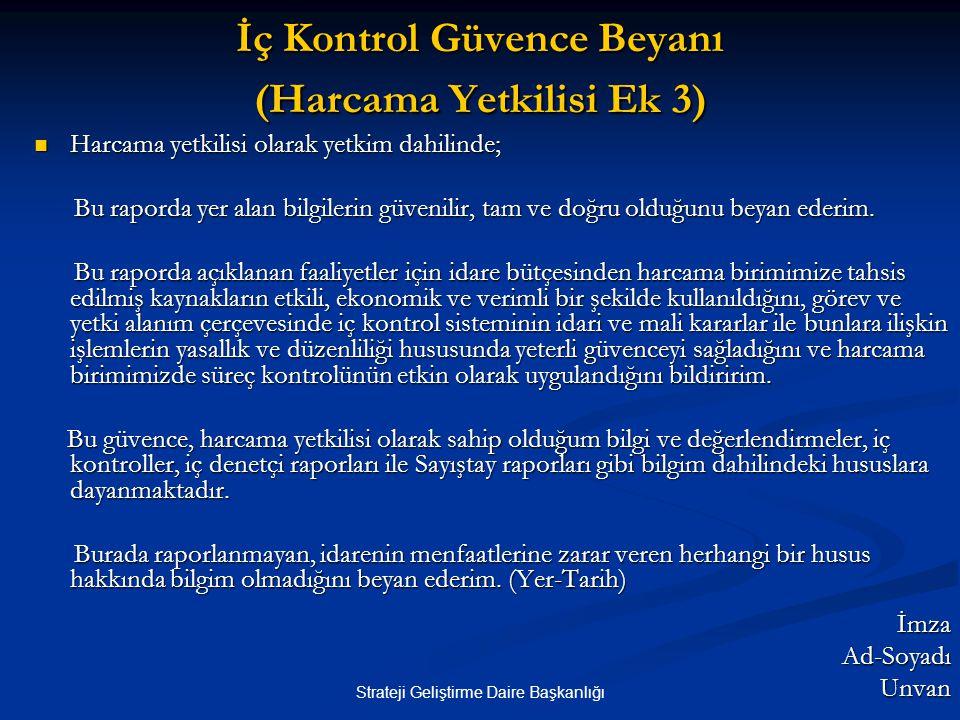 Strateji Geliştirme Daire Başkanlığı İç Kontrol Güvence Beyanı (Harcama Yetkilisi Ek 3)  Harcama yetkilisi olarak yetkim dahilinde; Bu raporda yer al