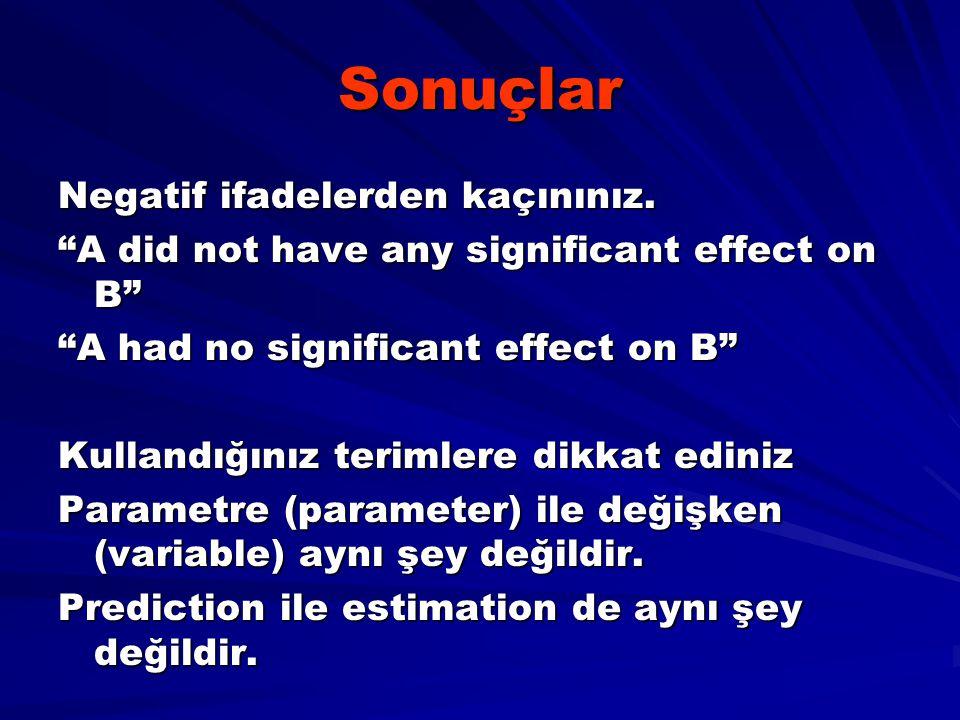 "Sonuçlar Negatif ifadelerden kaçınınız. ""A did not have any significant effect on B"" ""A had no significant effect on B"" Kullandığınız terimlere dikkat"