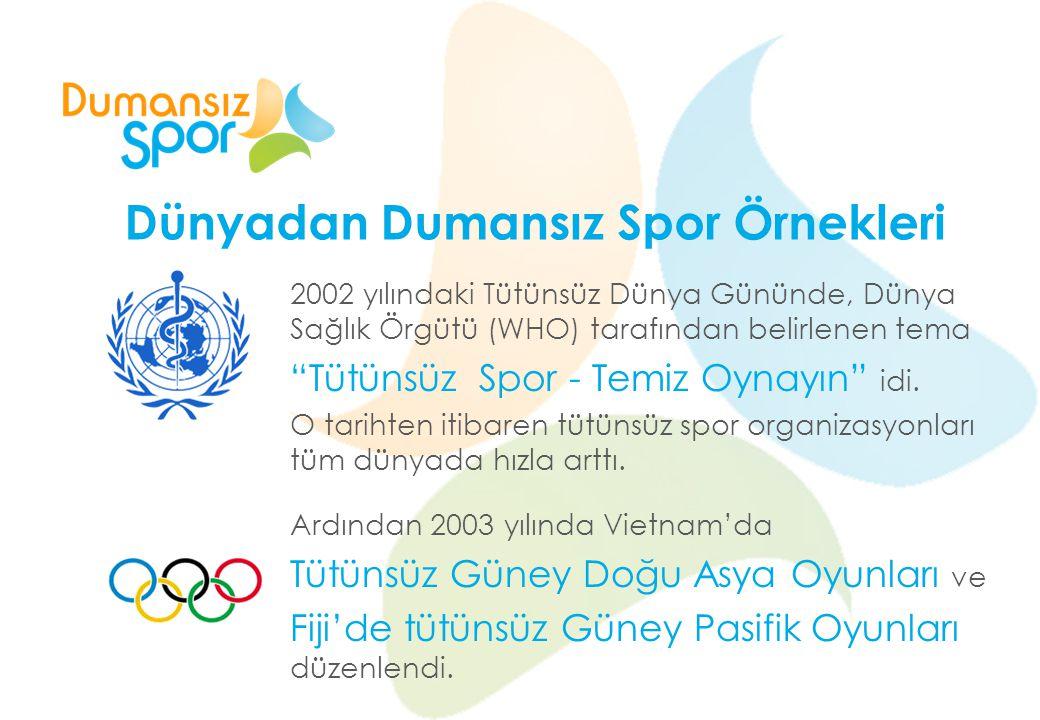 """Dünyadan Dumansız Spor Örnekleri 2002 yılındaki Tütünsüz Dünya Gününde, Dünya Sağlık Örgütü (WHO) tarafından belirlenen tema """"Tütünsüz Spor - Temiz Oy"""