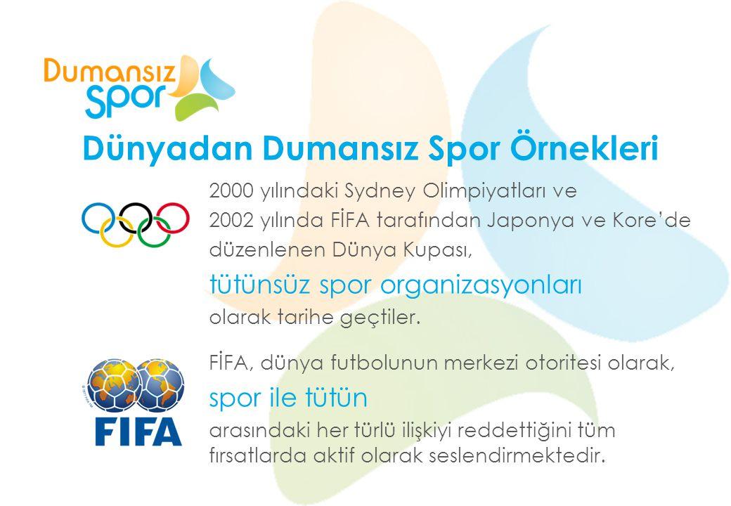 Dünyadan Dumansız Spor Örnekleri 2000 yılındaki Sydney Olimpiyatları ve 2002 yılında FİFA tarafından Japonya ve Kore'de düzenlenen Dünya Kupası, tütün