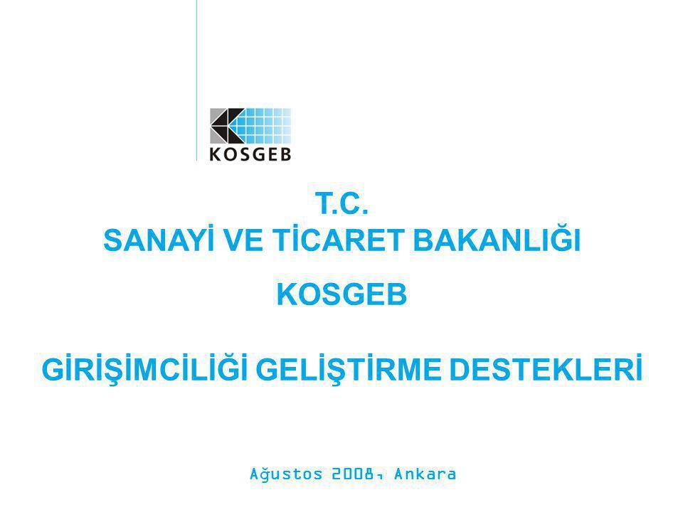 T.C. SANAYİ VE TİCARET BAKANLIĞI KOSGEB GİRİŞİMCİLİĞİ GELİŞTİRME DESTEKLERİ Ağustos 2008, Ankara