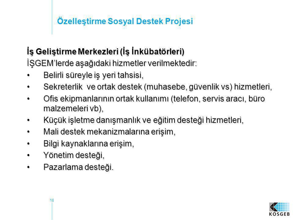 18 Özelleştirme Sosyal Destek Projesi İş Geliştirme Merkezleri (İş İnkübatörleri) İŞGEM'lerde aşağıdaki hizmetler verilmektedir: •Belirli süreyle iş y