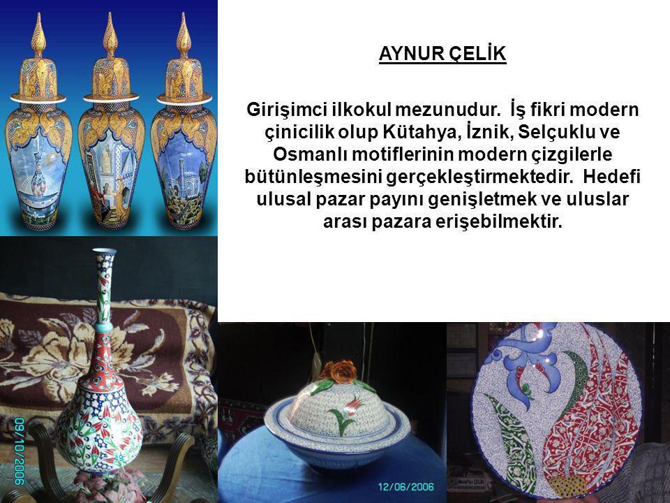 49 AYNUR ÇELİK Girişimci ilkokul mezunudur. İş fikri modern çinicilik olup Kütahya, İznik, Selçuklu ve Osmanlı motiflerinin modern çizgilerle bütünleş