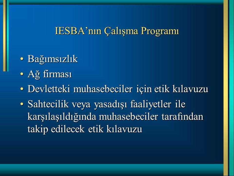 IESBA'nın Çalışma Programı •Bağımsızlık •Ağ firması •Devletteki muhasebeciler için etik kılavuzu •Sahtecilik veya yasadışı faaliyetler ile karşılaşıldığında muhasebeciler tarafından takip edilecek etik kılavuzu
