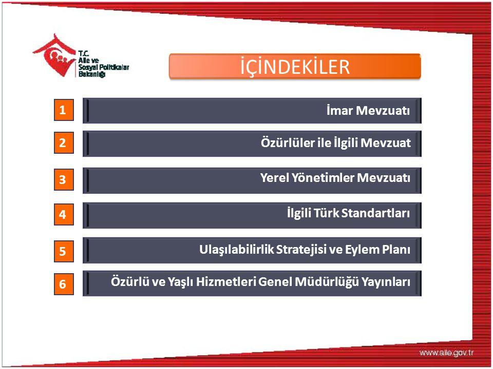 İlgili Türk Standartları 4 TS 9111: Özürlüler ve Hareket Kısıtlılığı Bulunan Kişiler İçin Binalarda Ulaşılabilirlik Gerekleri TS 12576: Şehir içi yollar - Kaldırım ve Yaya Geçitlerinde Ulaşılabilirlik İçin Yapısal Önlemler ve İşaretlemelerin Tasarım Kuralları TS 12460: Şehir İçi Yollar- Raylı Taşıma Sistemleri- Özürlü ve Yaşlılar İçin Tesislerde Tasarım Kuralları TS ISO 23599:Görme Özürlü veya Az Görenler İçin Yardımcı Mamuller - Hissedilebilir Yürüme Yüzeyi İşaretleri