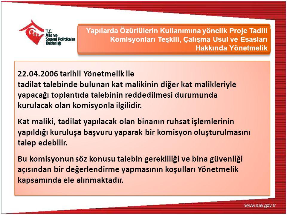 Yapılarda Özürlülerin Kullanımına yönelik Proje Tadili Komisyonları Teşkili, Çalışma Usul ve Esasları Hakkında Yönetmelik 22.04.2006 tarihli Yönetmeli