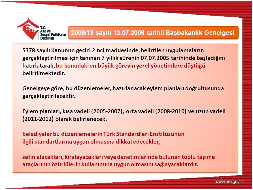 2006/18 sayılı 12.07.2006 tarihli Başbakanlık Genelgesi 5378 sayılı Kanunun geçici 2 nci maddesinde, belirtilen uygulamaların gerçekleştirilmesi için