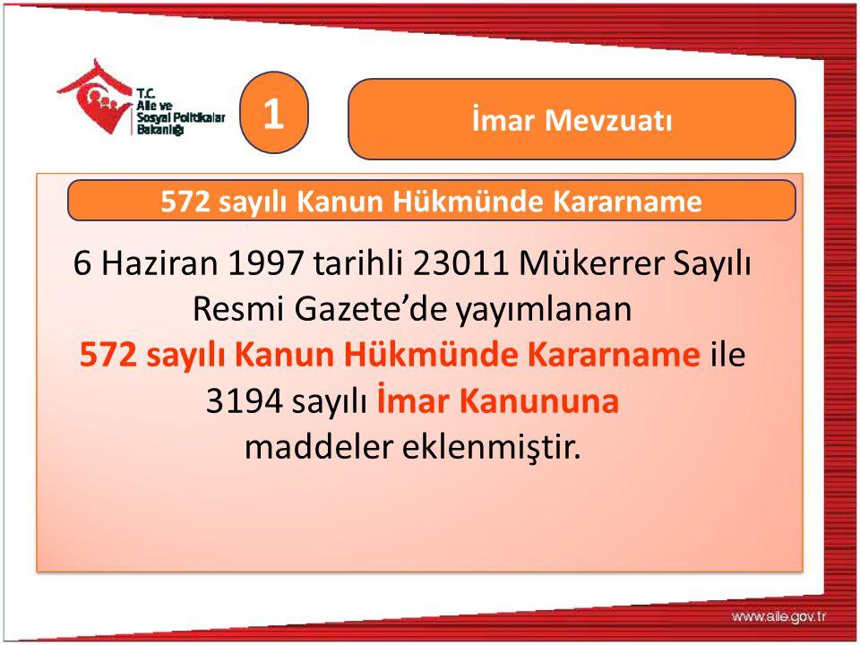 6 Haziran 1997 tarihli 23011 Mükerrer Sayılı Resmi Gazete'de yayımlanan 572 sayılı Kanun Hükmünde Kararname ile 3194 sayılı İmar Kanununa maddeler ekl