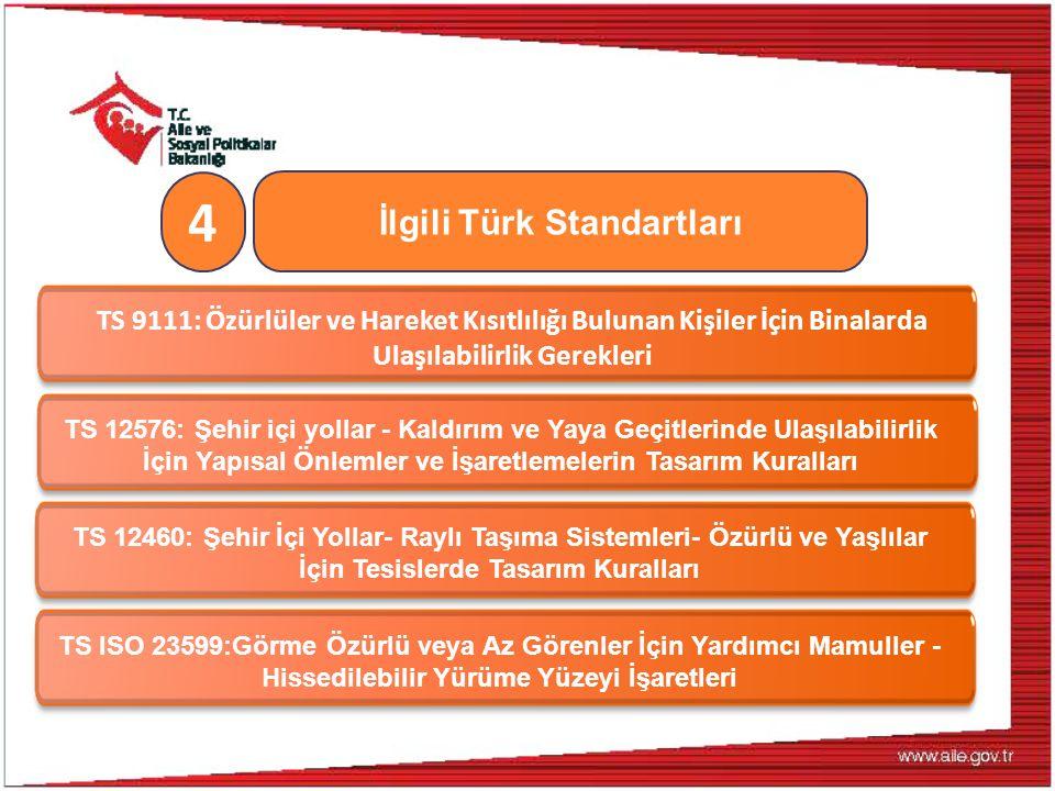 İlgili Türk Standartları 4 TS 9111: Özürlüler ve Hareket Kısıtlılığı Bulunan Kişiler İçin Binalarda Ulaşılabilirlik Gerekleri TS 12576: Şehir içi yoll