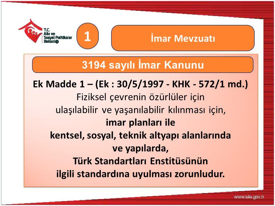 Ek Madde 1 – (Ek : 30/5/1997 - KHK - 572/1 md.) Fiziksel çevrenin özürlüler için ulaşılabilir ve yaşanılabilir kılınması için, imar planları ile kents