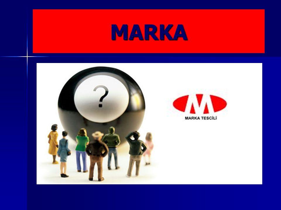 MARKA  Marka, bir işletmenin mal ve/veya hizmetlerini bir başka işletmenin mal ve/veya hizmetlerinden ayırt etmeyi sağlaması koşuluyla, kişi adları dahil, özellikle sözcükler, şekiller, harfler, sayılar, malların biçimi veya ambalajları gibi çizimle görüntülenebilen veya benzer biçimde ifade edilebilen, baskı yoluyla yayımlanabilen ve çoğaltılabilen her türlü işarettir.