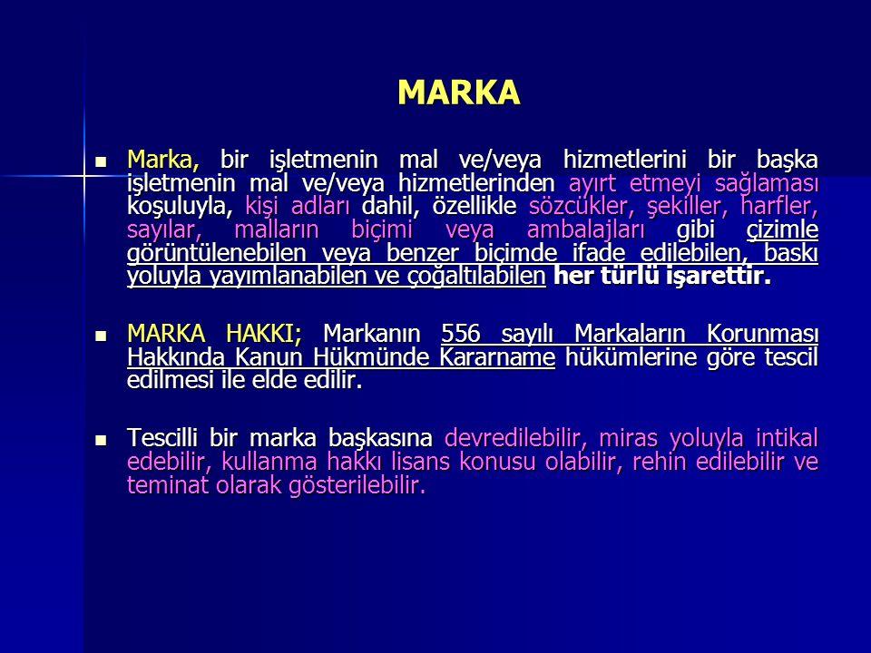 MARKA ÇEŞİTLERİ  556 sayılı Markaların Korunması Hakkında Kanun Hükmünde Kararnameye göre tescil edilecek markaların çeşitleri aşağıda gösterilmiştir.