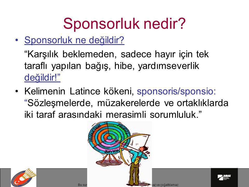 """Bu sunumun telif hakları MMI'a aittir.İzinsiz kullanılamaz ve çoğaltılamaz Sponsorluk nedir? •Sponsorluk ne değildir? """"Karşılık beklemeden, sadece hay"""