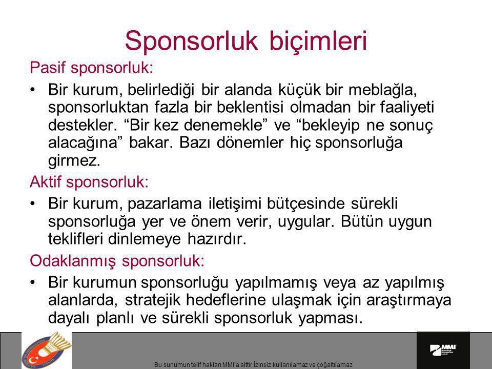 Bu sunumun telif hakları MMI'a aittir.İzinsiz kullanılamaz ve çoğaltılamaz Sponsorluk biçimleri Pasif sponsorluk: •Bir kurum, belirlediği bir alanda k