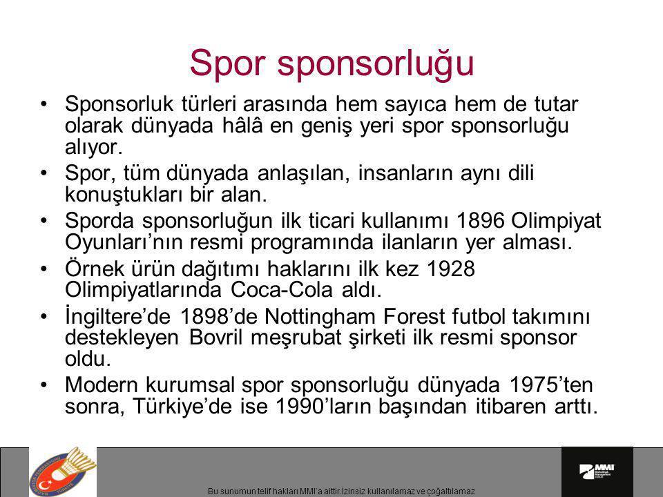 Bu sunumun telif hakları MMI'a aittir.İzinsiz kullanılamaz ve çoğaltılamaz Spor sponsorluğu •Sponsorluk türleri arasında hem sayıca hem de tutar olara