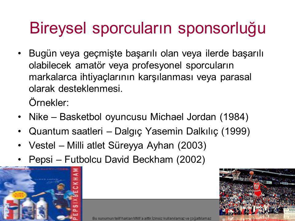 Bu sunumun telif hakları MMI'a aittir.İzinsiz kullanılamaz ve çoğaltılamaz Bireysel sporcuların sponsorluğu •Bugün veya geçmişte başarılı olan veya il