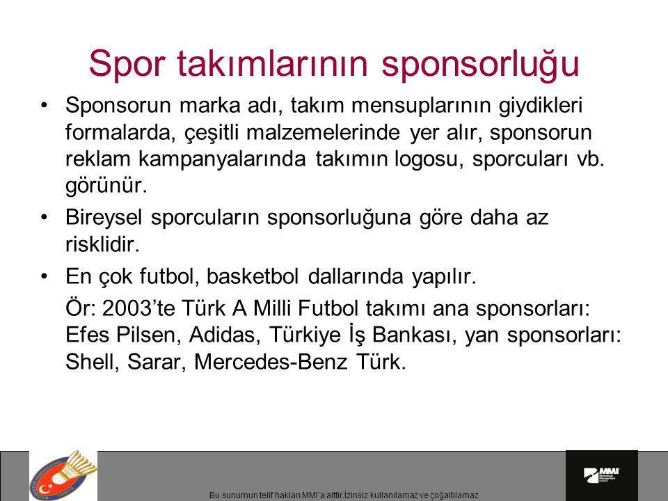 Bu sunumun telif hakları MMI'a aittir.İzinsiz kullanılamaz ve çoğaltılamaz Spor takımlarının sponsorluğu •Sponsorun marka adı, takım mensuplarının giy
