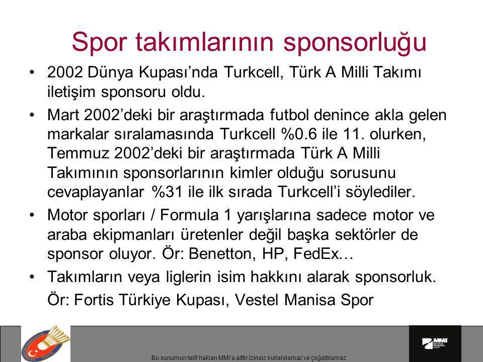 Bu sunumun telif hakları MMI'a aittir.İzinsiz kullanılamaz ve çoğaltılamaz Spor takımlarının sponsorluğu •2002 Dünya Kupası'nda Turkcell, Türk A Milli