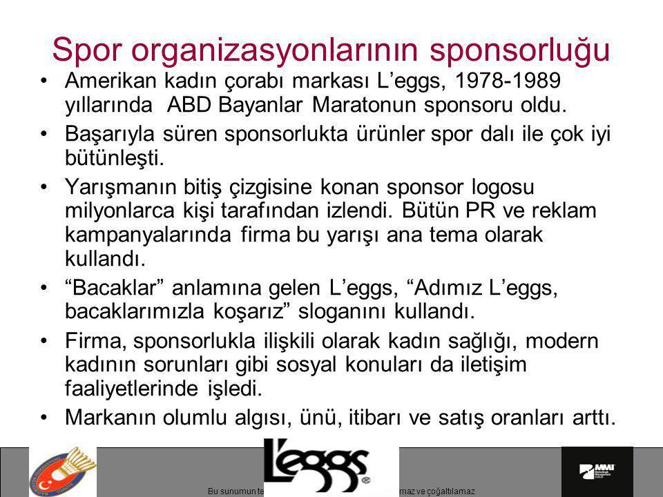 Bu sunumun telif hakları MMI'a aittir.İzinsiz kullanılamaz ve çoğaltılamaz Spor organizasyonlarının sponsorluğu •Amerikan kadın çorabı markası L'eggs,