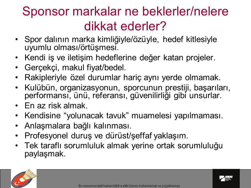 Bu sunumun telif hakları MMI'a aittir.İzinsiz kullanılamaz ve çoğaltılamaz Sponsor markalar ne beklerler/nelere dikkat ederler? •Spor dalının marka ki