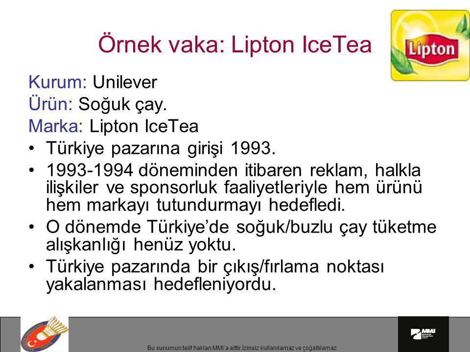 Bu sunumun telif hakları MMI'a aittir.İzinsiz kullanılamaz ve çoğaltılamaz Örnek vaka: Lipton IceTea Kurum: Unilever Ürün: Soğuk çay. Marka: Lipton Ic