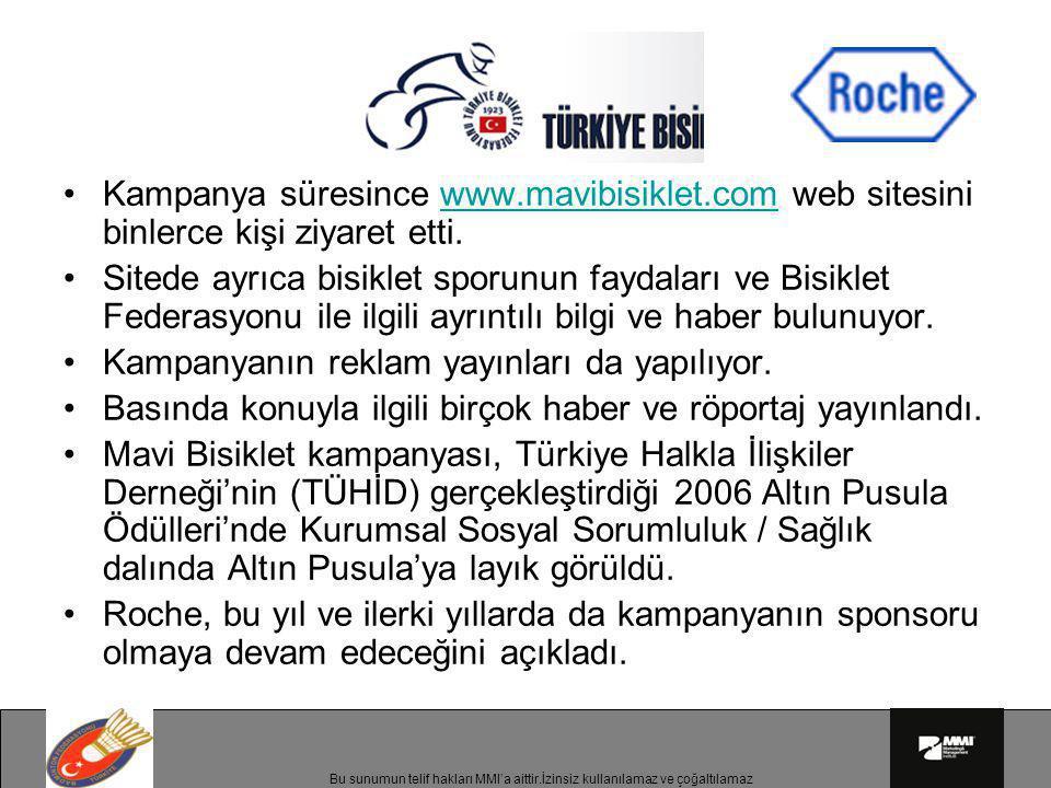 •Kampanya süresince www.mavibisiklet.com web sitesini binlerce kişi ziyaret etti.www.mavibisiklet.com •Sitede ayrıca bisiklet sporunun faydaları ve Bi