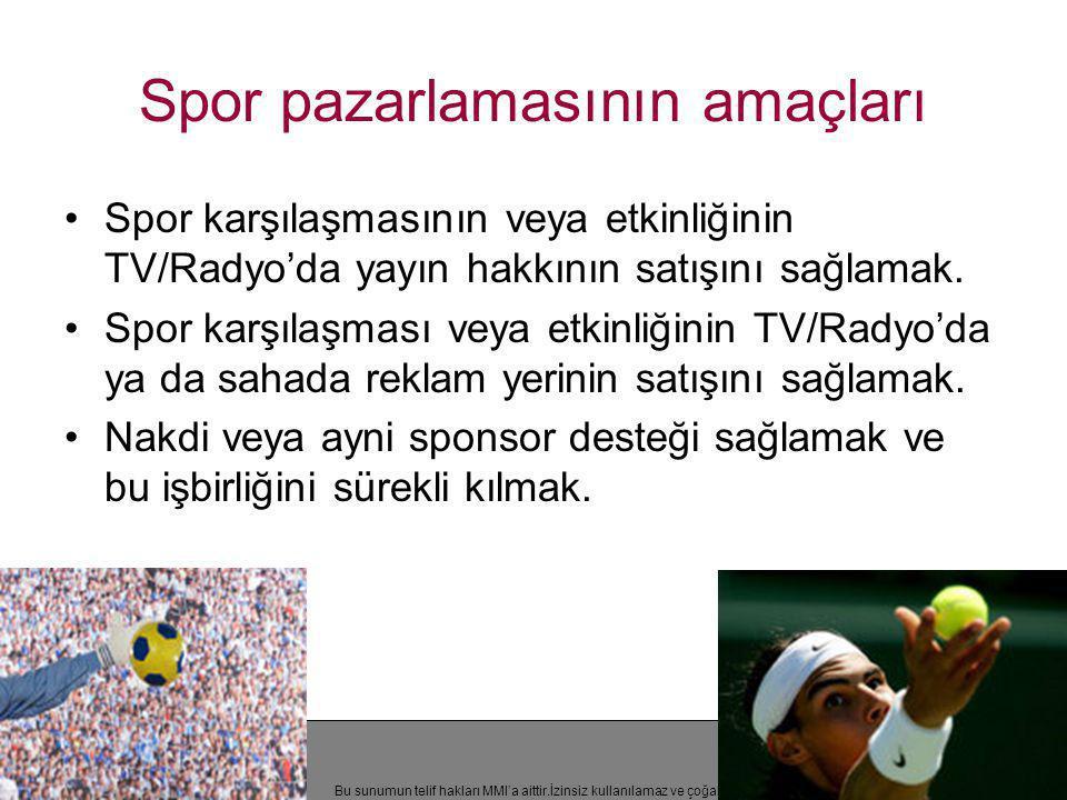 Bu sunumun telif hakları MMI'a aittir.İzinsiz kullanılamaz ve çoğaltılamaz Spor pazarlamasının amaçları •Spor karşılaşmasının veya etkinliğinin TV/Rad