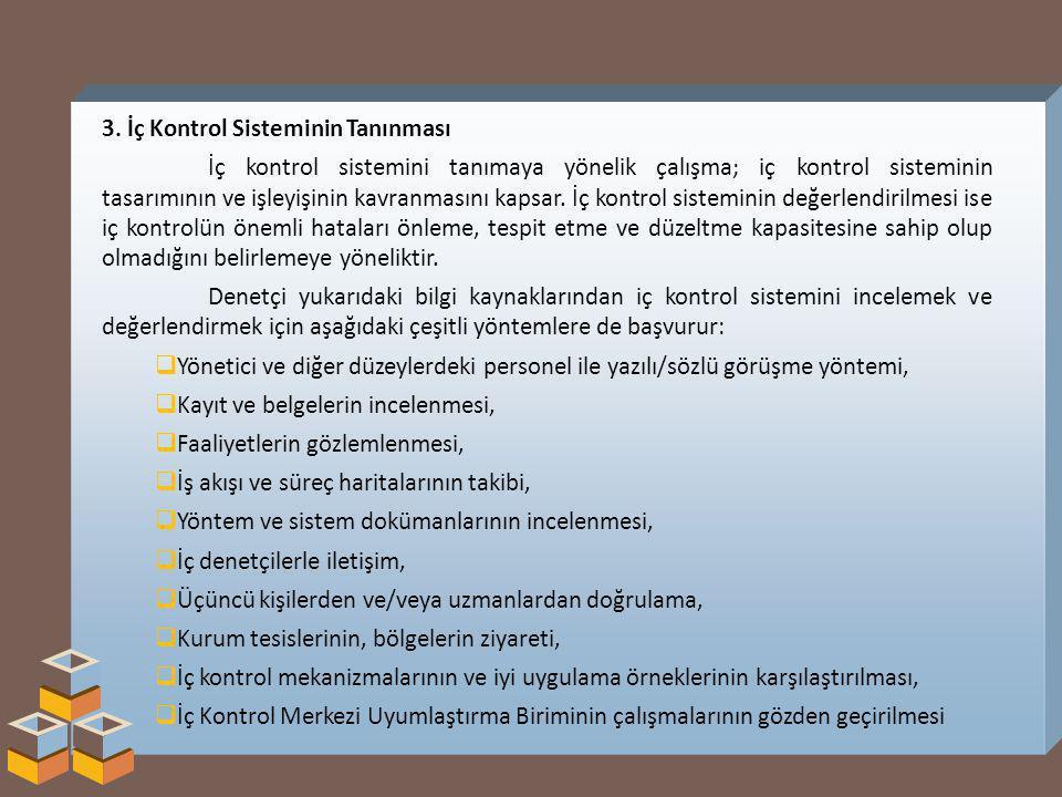 3. İç Kontrol Sisteminin Tanınması İç kontrol sistemini tanımaya yönelik çalışma; iç kontrol sisteminin tasarımının ve işleyişinin kavranmasını kapsar