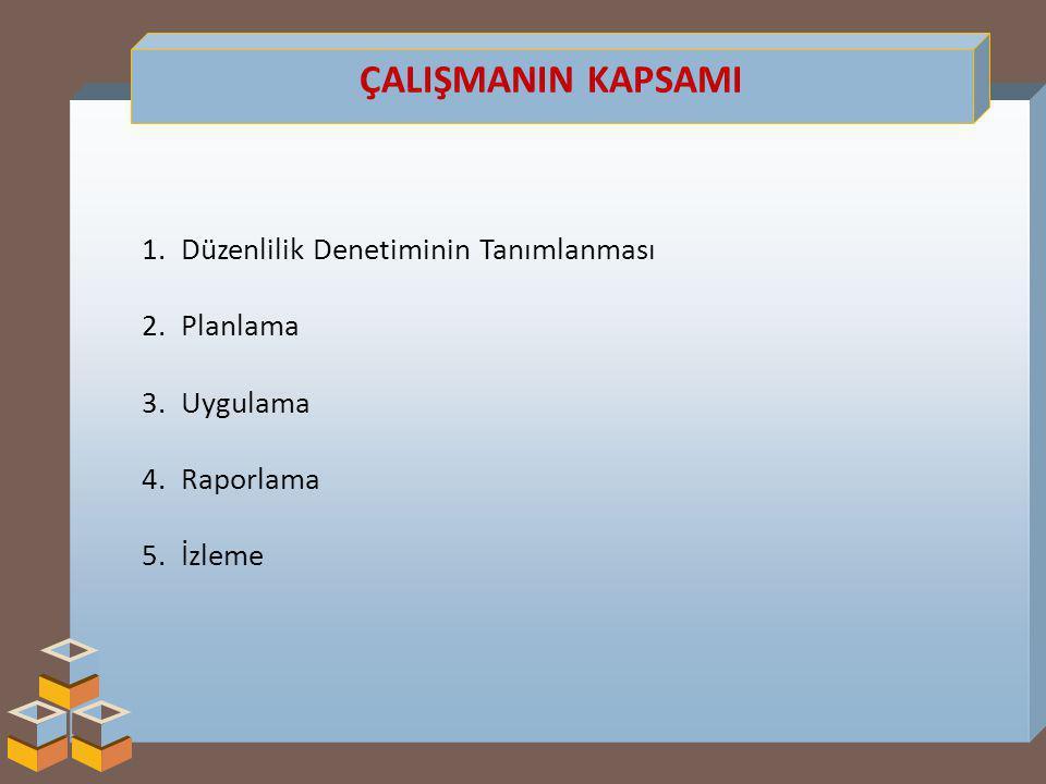 ÇALIŞMANIN KAPSAMI 1.Düzenlilik Denetiminin Tanımlanması 2.Planlama 3.Uygulama 4.Raporlama 5.İzleme