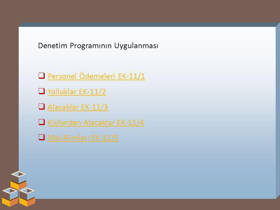Denetim Programının Uygulanması  Personel Ödemeleri EK-11/1Personel Ödemeleri EK-11/1  Yolluklar EK-11/2Yolluklar EK-11/2  Alacaklar EK-11/3Alacaklar EK-11/3  Kişilerden Alacaklar EK-11/4Kişilerden Alacaklar EK-11/4  Mal Alımları EK-11/5Mal Alımları EK-11/5