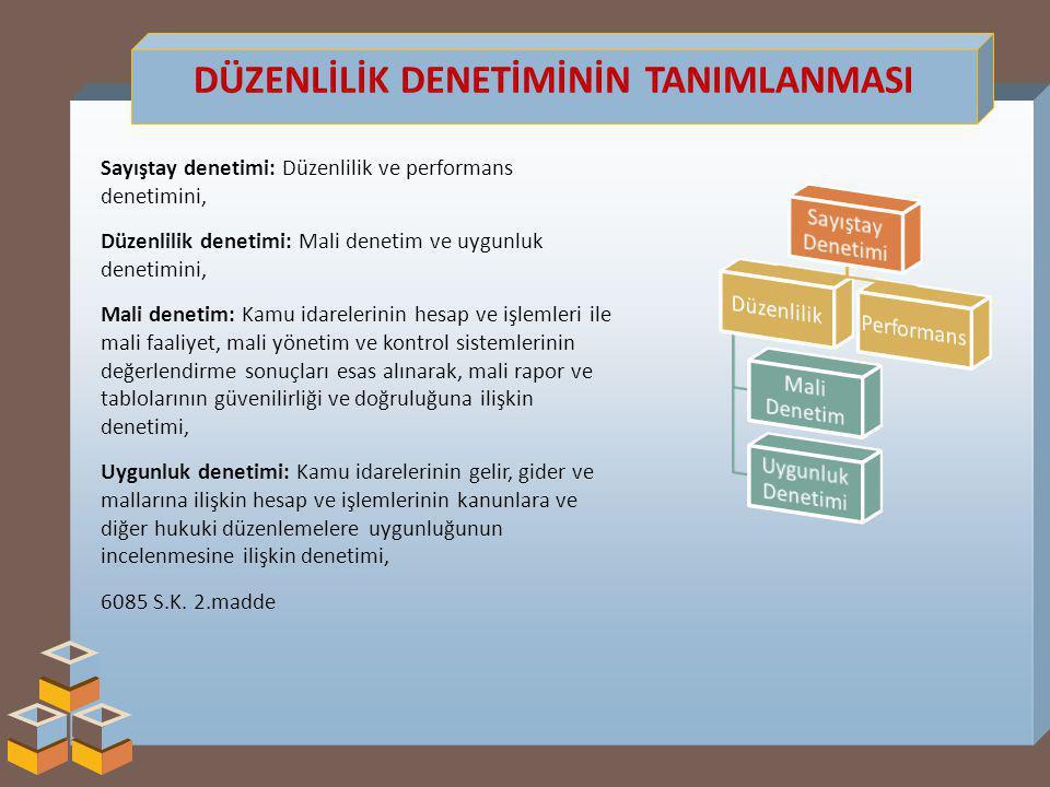 DÜZENLİLİK DENETİMİNİN TANIMLANMASI Sayıştay denetimi: Düzenlilik ve performans denetimini, Düzenlilik denetimi: Mali denetim ve uygunluk denetimini, Mali denetim: Kamu idarelerinin hesap ve işlemleri ile mali faaliyet, mali yönetim ve kontrol sistemlerinin değerlendirme sonuçları esas alınarak, mali rapor ve tablolarının güvenilirliği ve doğruluğuna ilişkin denetimi, Uygunluk denetimi: Kamu idarelerinin gelir, gider ve mallarına ilişkin hesap ve işlemlerinin kanunlara ve diğer hukuki düzenlemelere uygunluğunun incelenmesine ilişkin denetimi, 6085 S.K.