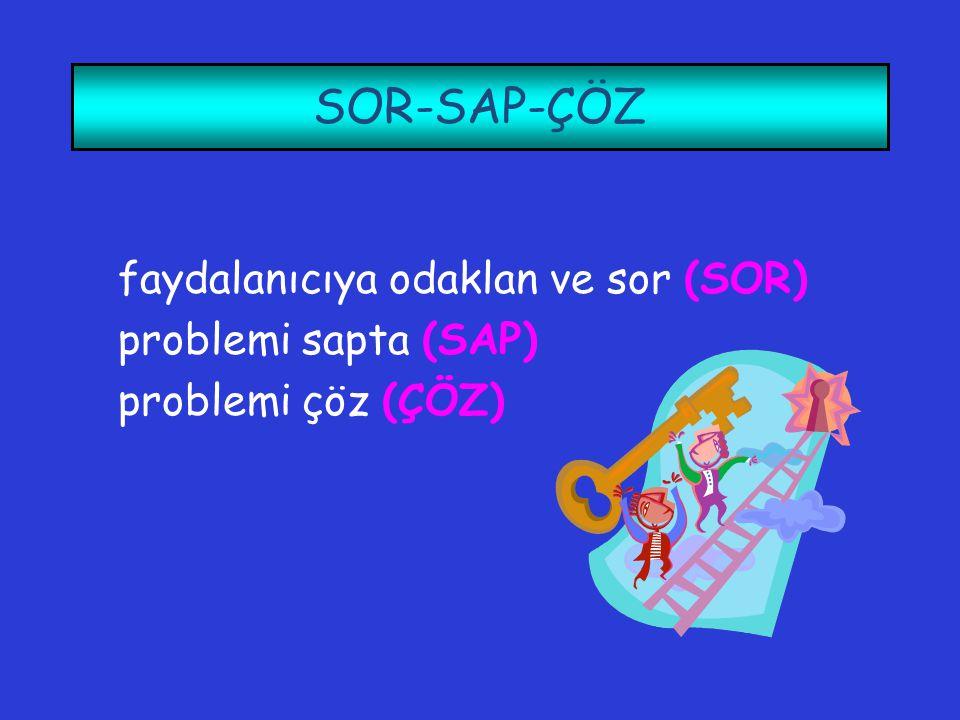 SOR-SAP-ÇÖZ faydalanıcıya odaklan ve sor (SOR) problemi sapta (SAP) problemi çöz (ÇÖZ)