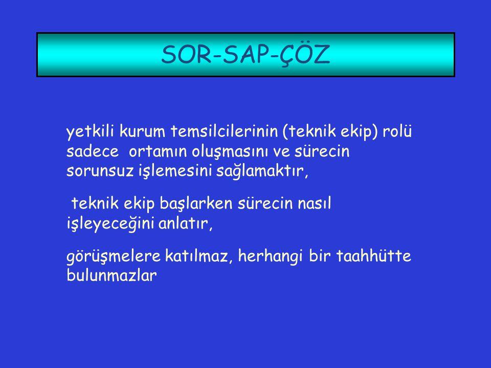 SOR-SAP-ÇÖZ yetkili kurum temsilcilerinin (teknik ekip) rolü sadece ortamın oluşmasını ve sürecin sorunsuz işlemesini sağlamaktır, teknik ekip başlark
