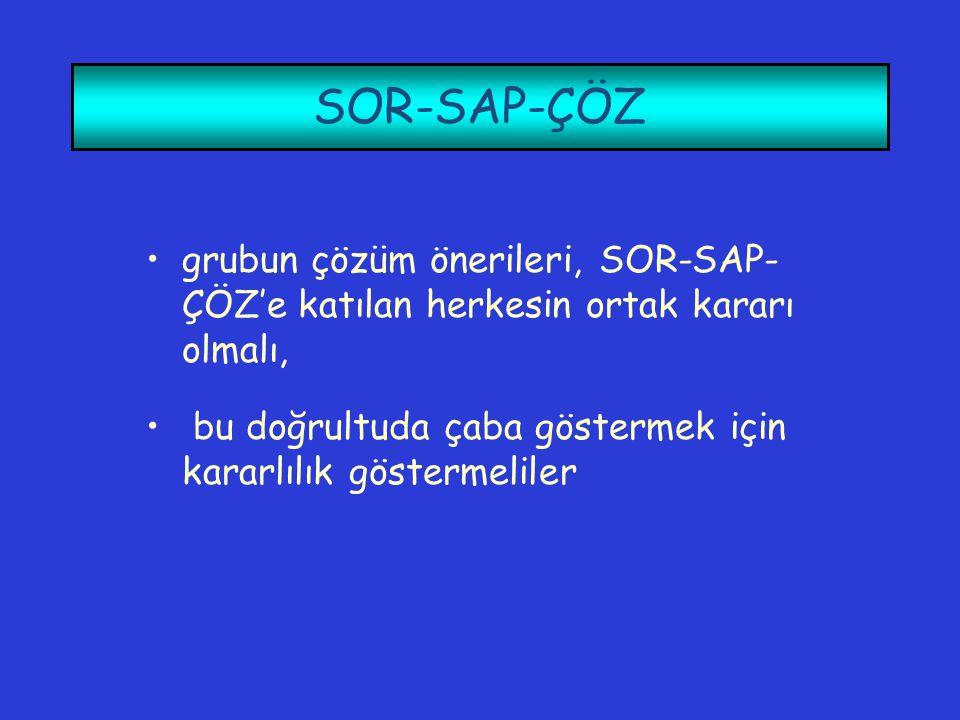 SOR-SAP-ÇÖZ •grubun çözüm önerileri, SOR-SAP- ÇÖZ'e katılan herkesin ortak kararı olmalı, • bu doğrultuda çaba göstermek için kararlılık göstermeliler