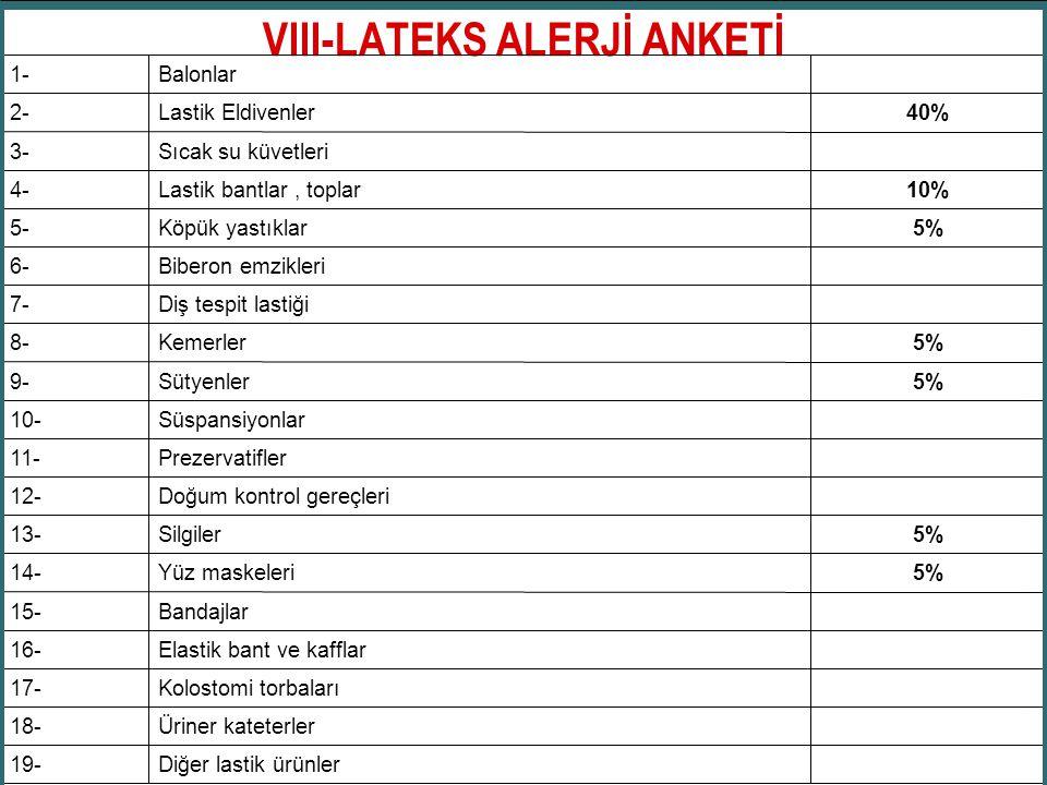 VIII-LATEKS ALERJİ ANKETİ Diğer lastik ürünler19- Üriner kateterler18- Kolostomi torbaları17- Elastik bant ve kafflar16- Bandajlar15- 5%Yüz maskeleri1