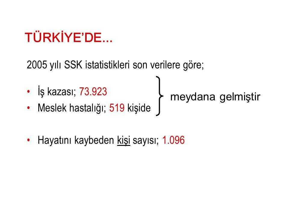 TÜRKİYE'DE... 2005 yılı SSK istatistikleri son verilere göre; •İş kazası; 73.923 •Meslek hastalığı; 519 kişide •Hayatını kaybeden kişi sayısı; 1.096 m