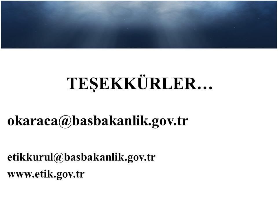 TEŞEKKÜRLER… okaraca@basbakanlik.gov.tr etikkurul@basbakanlik.gov.tr www.etik.gov.tr