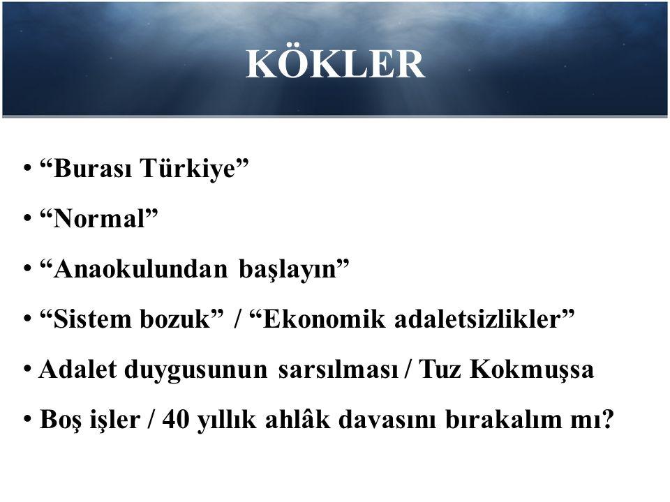 KÖKLER • Burası Türkiye • Normal • Anaokulundan başlayın • Sistem bozuk / Ekonomik adaletsizlikler • Adalet duygusunun sarsılması / Tuz Kokmuşsa • Boş işler / 40 yıllık ahlâk davasını bırakalım mı?