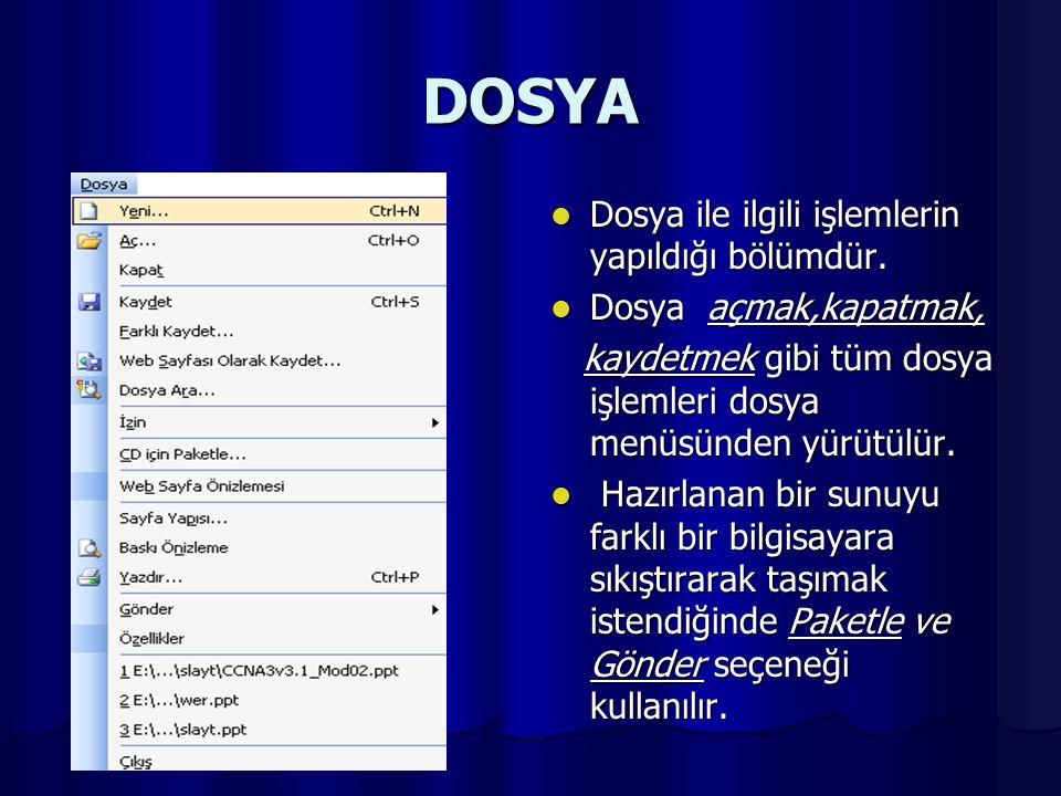 DOSYA DDDDosya ile ilgili işlemlerin yapıldığı bölümdür.