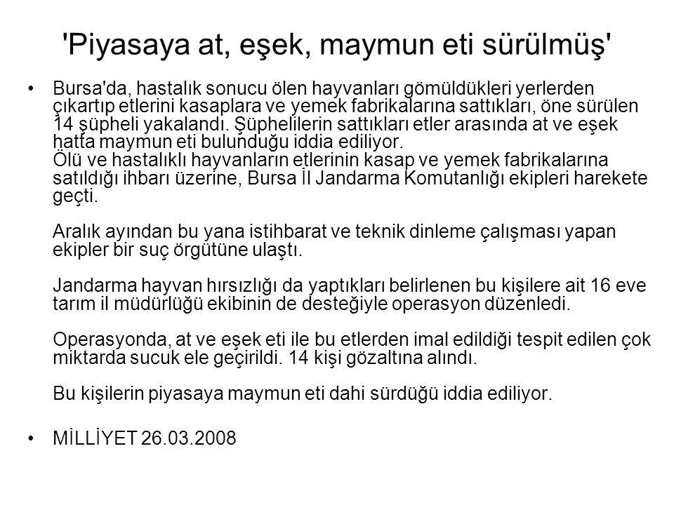 'Piyasaya at, eşek, maymun eti sürülmüş' •Bursa'da, hastalık sonucu ölen hayvanları gömüldükleri yerlerden çıkartıp etlerini kasaplara ve yemek fabrik