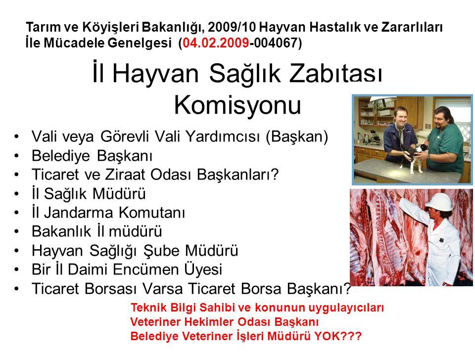 İl Hayvan Sağlık Zabıtası Komisyonu •Vali veya Görevli Vali Yardımcısı (Başkan) •Belediye Başkanı •Ticaret ve Ziraat Odası Başkanları? •İl Sağlık Müdü