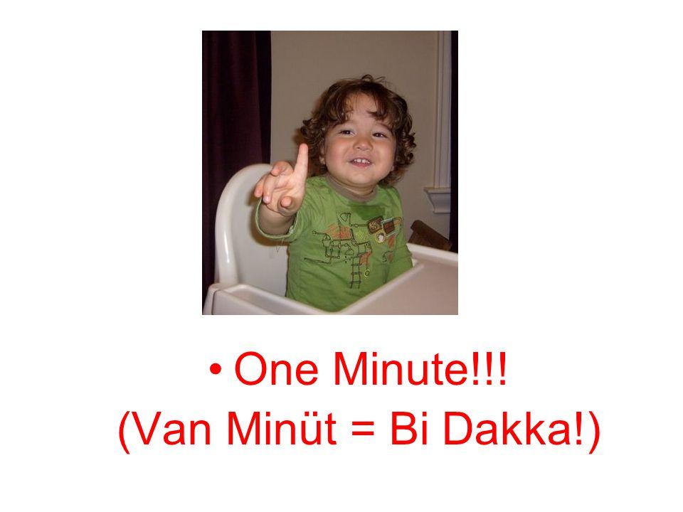 •One Minute!!! (Van Minüt = Bi Dakka!)