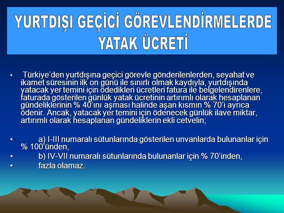 • Türkiye'den yurtdışına geçici görevle gönderilenlerden, seyahat ve ikamet süresinin ilk on günü ile sınırlı olmak kaydıyla, yurtdışında yatacak yer