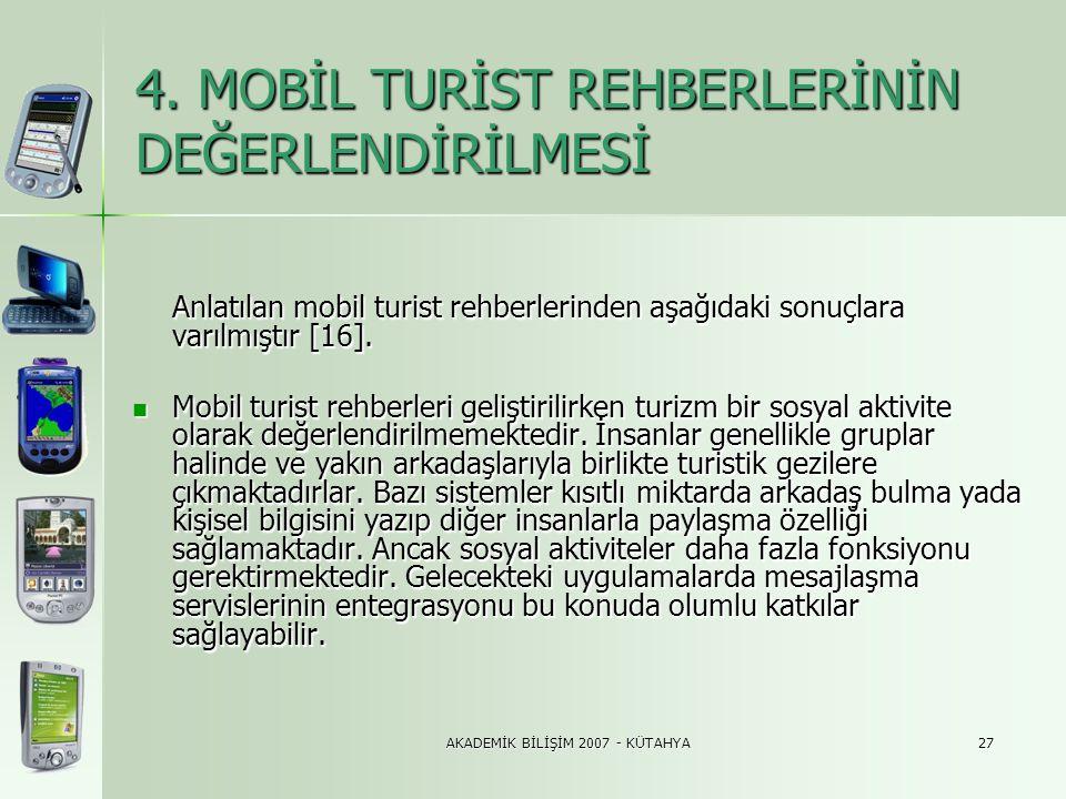 AKADEMİK BİLİŞİM 2007 - KÜTAHYA27 4. MOBİL TURİST REHBERLERİNİN DEĞERLENDİRİLMESİ Anlatılan mobil turist rehberlerinden aşağıdaki sonuçlara varılmıştı