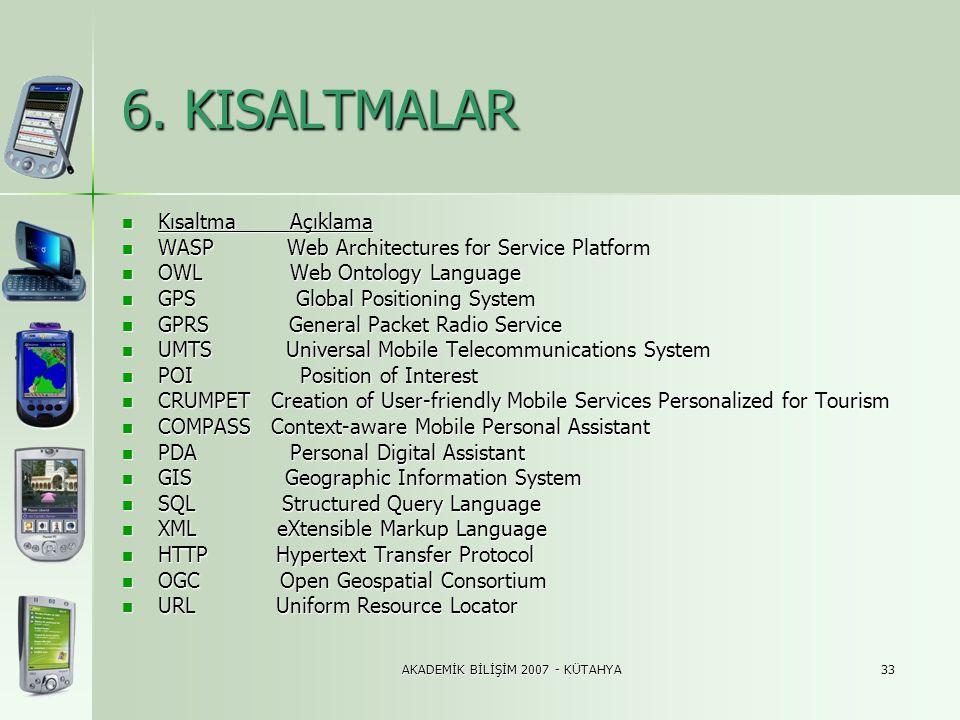 AKADEMİK BİLİŞİM 2007 - KÜTAHYA33 6. KISALTMALAR  Kısaltma Açıklama  WASP Web Architectures for Service Platform  OWL Web Ontology Language  GPS G