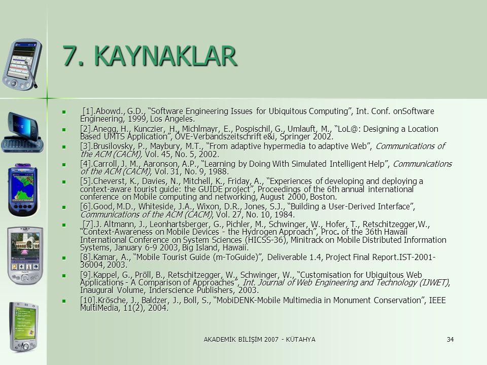 "AKADEMİK BİLİŞİM 2007 - KÜTAHYA34 7. KAYNAKLAR  [1].Abowd., G.D., ""Software Engineering Issues for Ubiquitous Computing"", Int. Conf. onSoftware Engin"