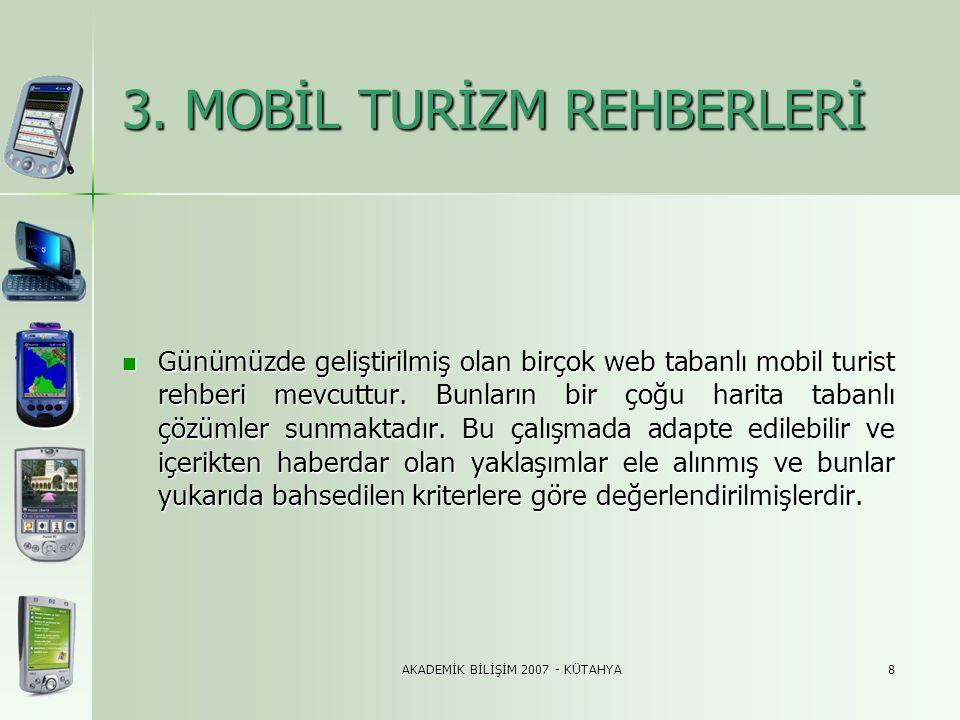 AKADEMİK BİLİŞİM 2007 - KÜTAHYA8 3. MOBİL TURİZM REHBERLERİ 3. MOBİL TURİZM REHBERLERİ  Günümüzde geliştirilmiş olan birçok web tabanlı mobil turist