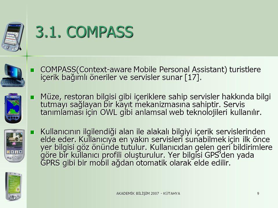 AKADEMİK BİLİŞİM 2007 - KÜTAHYA9 3.1. COMPASS  COMPASS(Context-aware Mobile Personal Assistant) turistlere içerik bağımlı öneriler ve servisler sunar