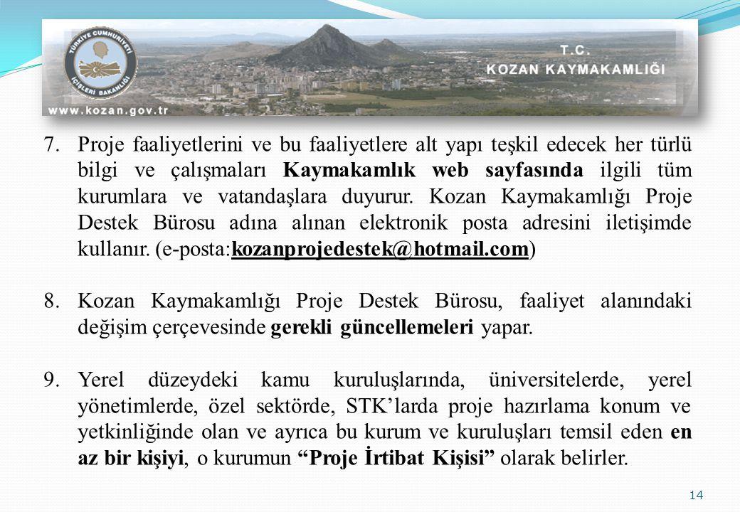 14 7.Proje faaliyetlerini ve bu faaliyetlere alt yapı teşkil edecek her türlü bilgi ve çalışmaları Kaymakamlık web sayfasında ilgili tüm kurumlara ve vatandaşlara duyurur.