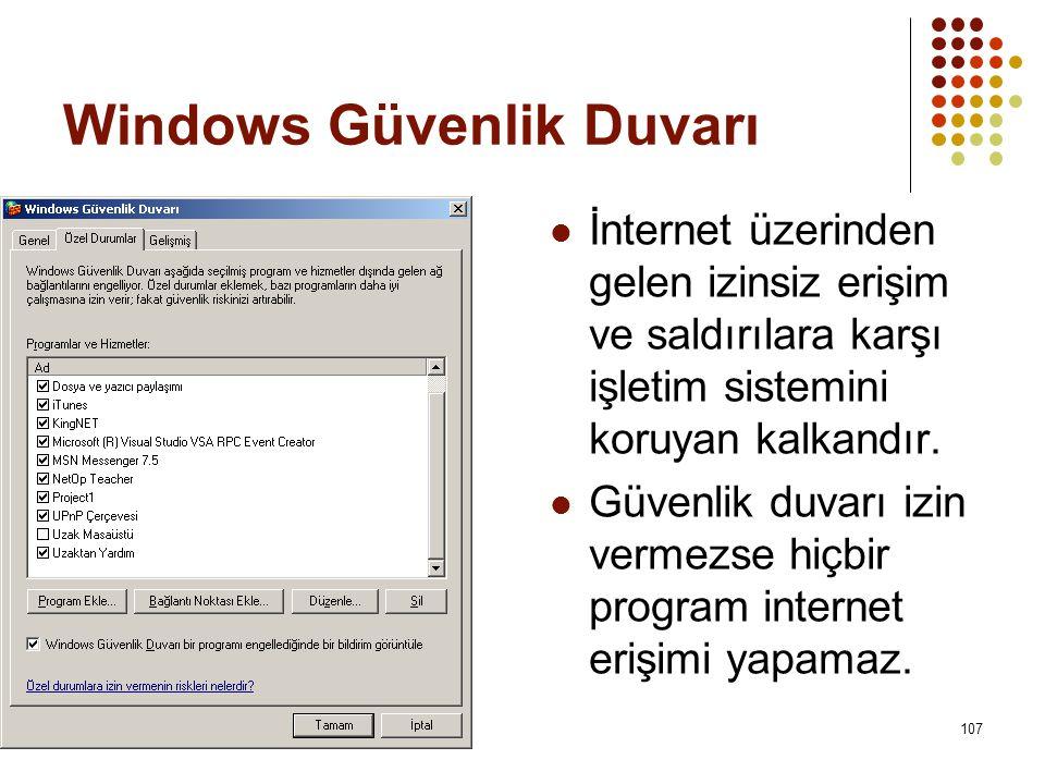Windows Güvenlik Duvarı  İnternet üzerinden gelen izinsiz erişim ve saldırılara karşı işletim sistemini koruyan kalkandır.